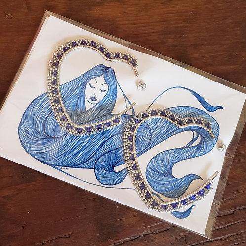 Silver and Dark-blue Hearts