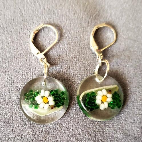 Sage & Daisy Beaded Resin Drop Earrings