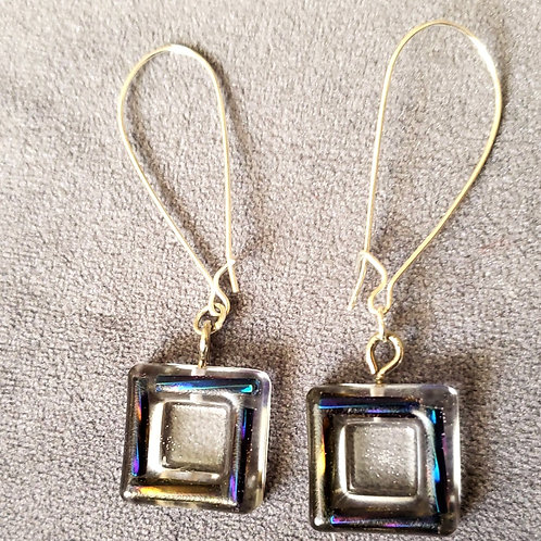 Beaded Square Resin Drop Earring