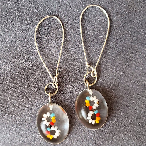 Beaded Circles Resin Drop Earrings