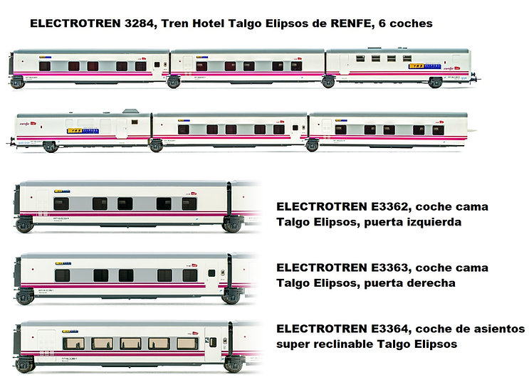 Pack Tren Hotel Talgo Elipsos RENFE, época V-VI (9 coches)