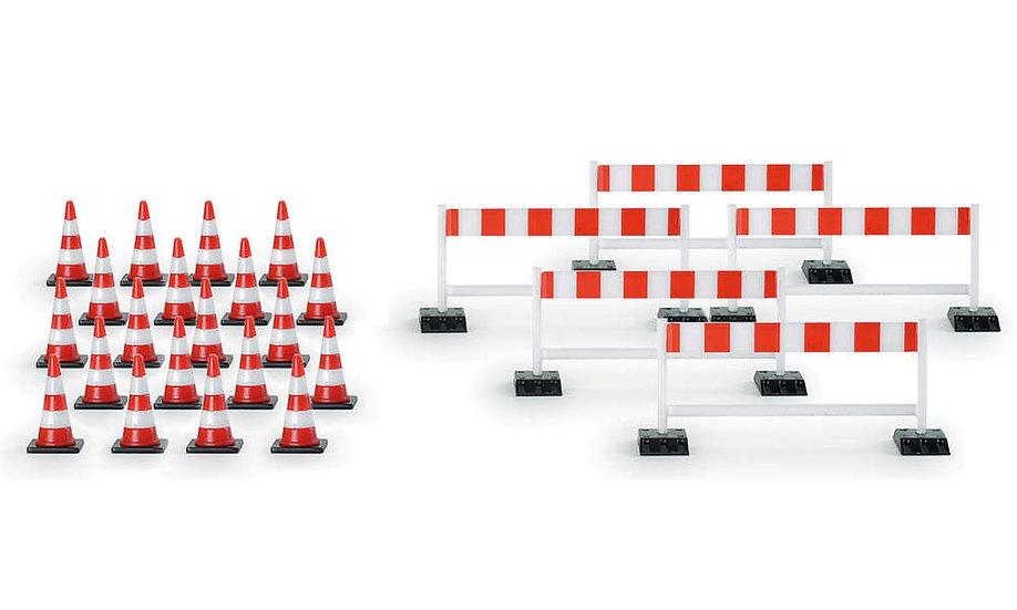 Herpa 52566, Pack de 20 conos y 5 barreras