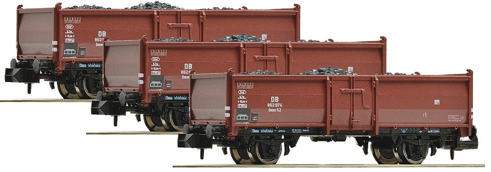 Fleischmann  820530. Set de 3 carros transporta carbón con carga, DB, época III