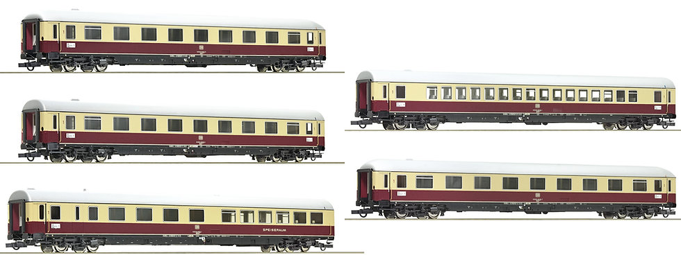 "Roco 74072+ 74074, Tren 5 coches TEE ""Roland"" DB época IV"