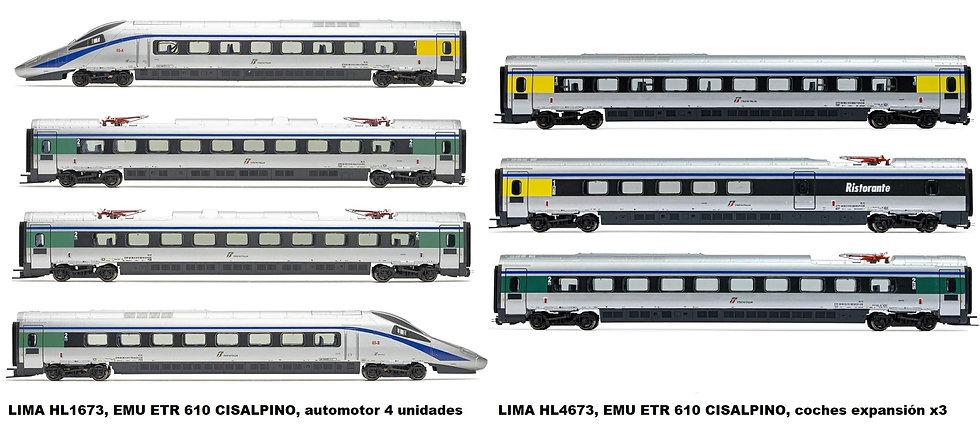 Pack EMU ETR 610 CISALPINO, ferrocarriles italianos, época VI