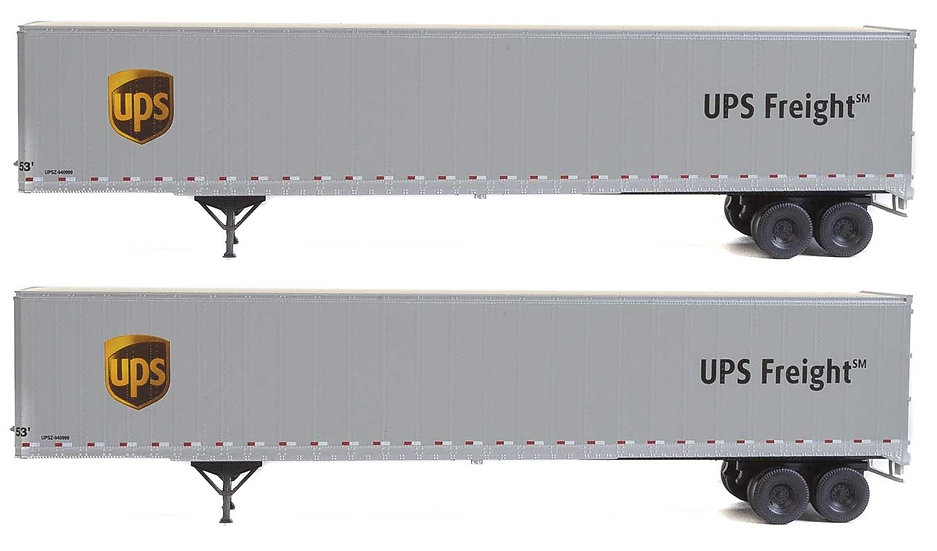 """Walthers 2460, Pack 2 trailers 53' Stoughton """"UPS"""""""