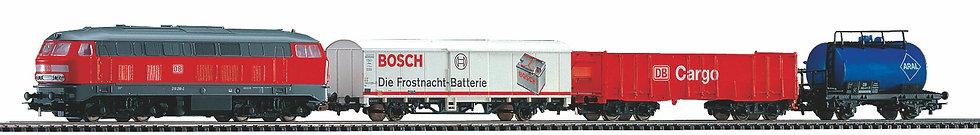 Piko 57154. Set de inico DC locom. diésel BR218 +carros de carga alemán, DB