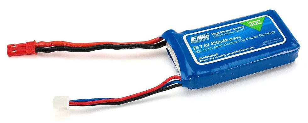 EFLB4502SJ30, 7,4V 450mAh 2S 30C LiPo: JST