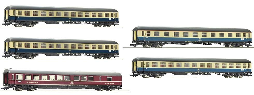 "Roco 74181 + 74182, Tren 5 coches D 229 ""Johann Strauß"" DB época IV"