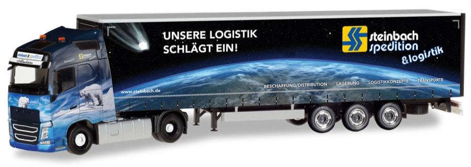 """Herpa 309875,  Volvo FH GL XL Gardinenplanen-Sattelzug """"Steinbach Logistik"""""""