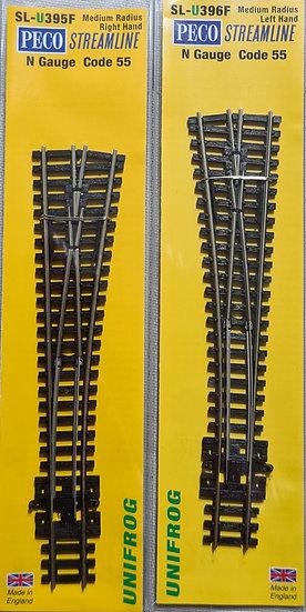 Peco SLU395F + SLU396F, Pack de 2 desvíos Peco Unifrog Izquierdo más Derecho