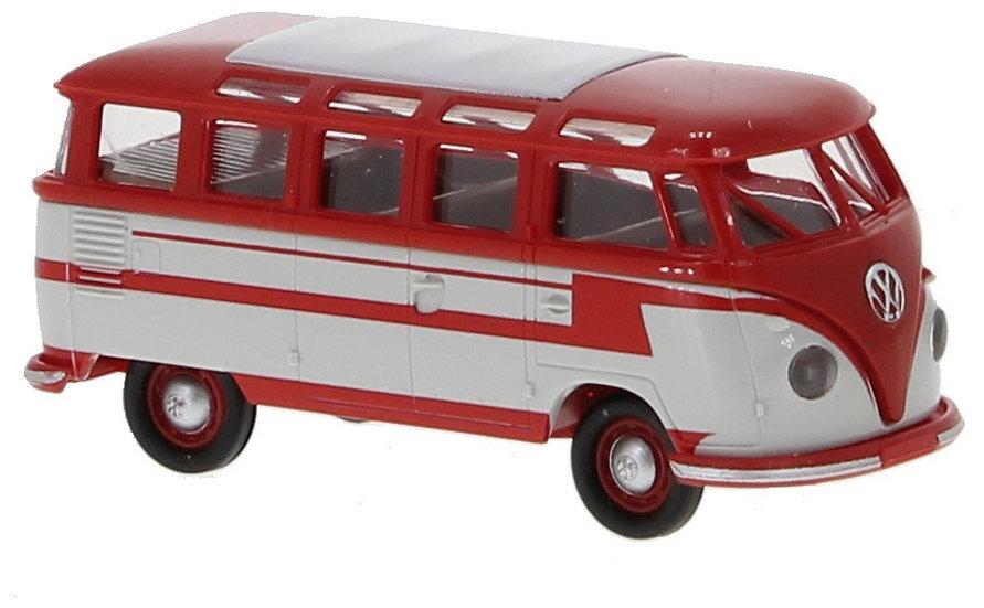 Brekina 31843, VW T1b Samba, rojo/gris, 1960