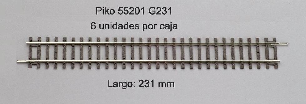 Piko 55201, Vía recta G231. Caja de 6 unidades.