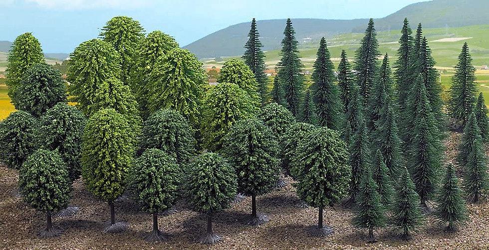 Busch 6491, Pack de 50 Arboles mixtos  HO (20 arboles + 30 pinos)