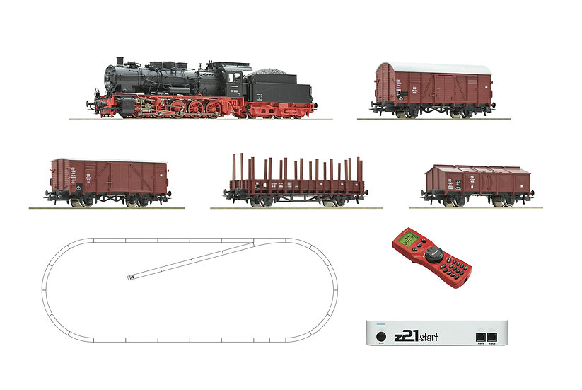 Roco51318. Digital Starter Set z21: locomotora a vapor BR 57 + carros de carga