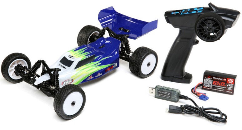 LOSI 01016T1, 1/16 Mini-B Brushed RTR 2WD Buggy, blanco azul