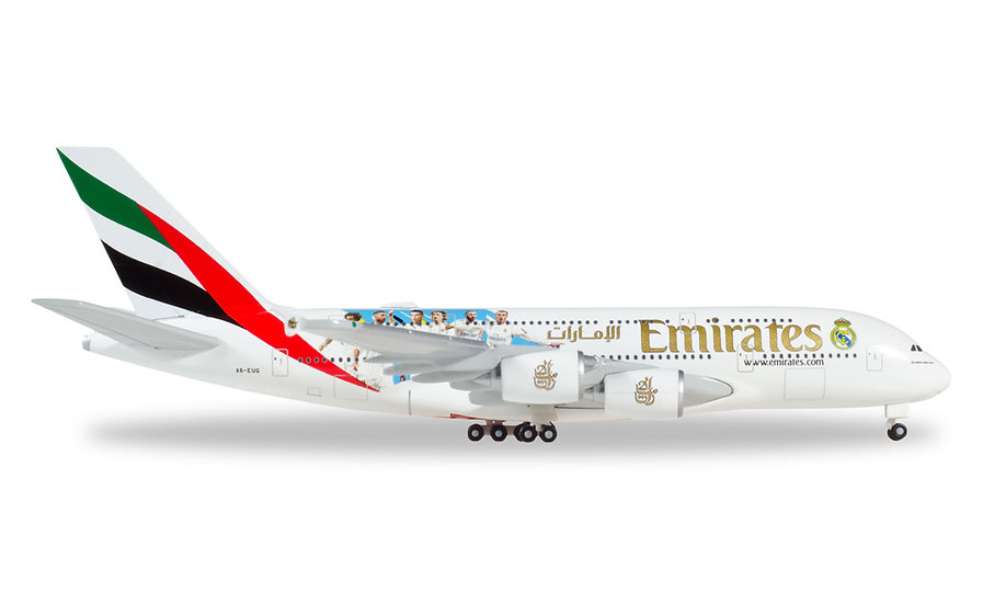 """Herpa 531931,  EMIRATES AIRBUS A380 """"REAL MADRID (2018)"""" (1:500)"""