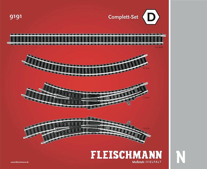 """Fleischmann 9191, Set vías Profi """"D"""""""