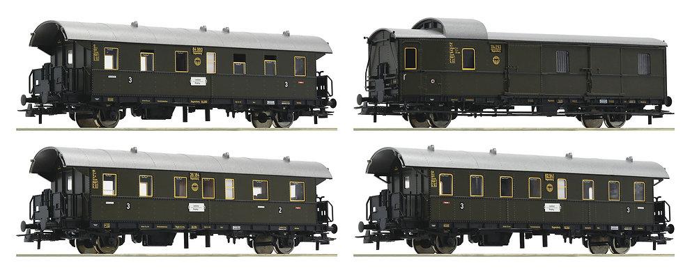 "Roco 74102, Set de 4 coches tipo ""Donnerbüchse"", DRG, época II"
