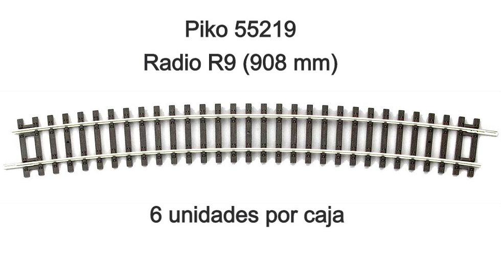 Piko 55219, Curva R9. Caja de 6 unidades.