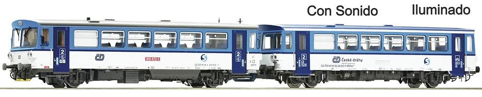 Roco 70379, Automotor diésel 810 472-1 con remolque CD,  época VI [DCC + SONIDO]