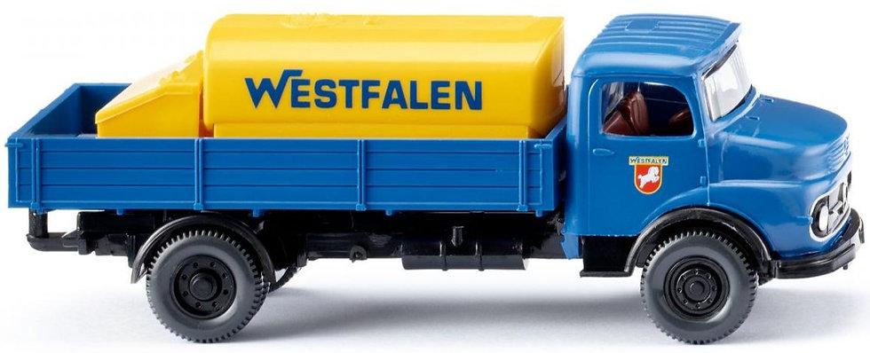 """Wiking 43801, camión plano con estanque, MB """"WESTFALEN"""""""