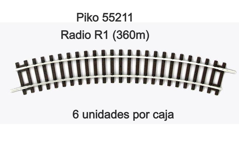 Piko 55211, Curva R1. Caja de 6 unidades.