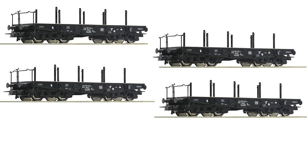 Roco 46380, Pack 4 x Vagón plano para cargas pesadas, DB