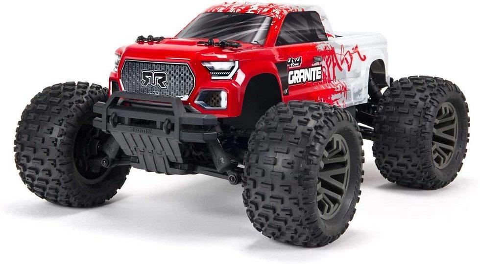 ARA4302V3T2, 1/10 GRANITE 4X4 V3 3S BLX Brushless Monster Truck RTR, Rojo