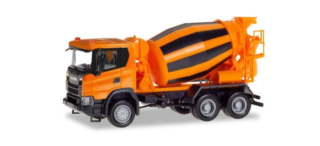 Herpa 309783, Scania CG 17 6x6 mixer de hormigón, municipal naranjo