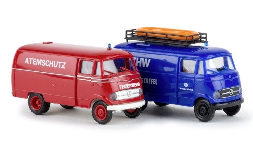 Brekina  90465, Set 2 MB L 319, Feuerwehr und THW,  MB L319 FW+THW