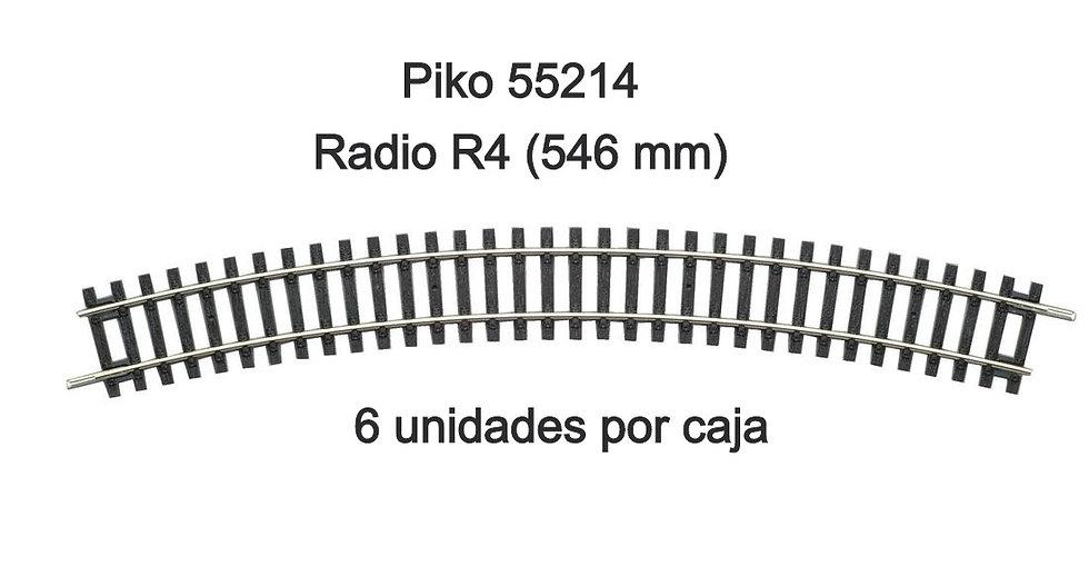 Piko 55214, Curva R4. Caja de 6 unidades.