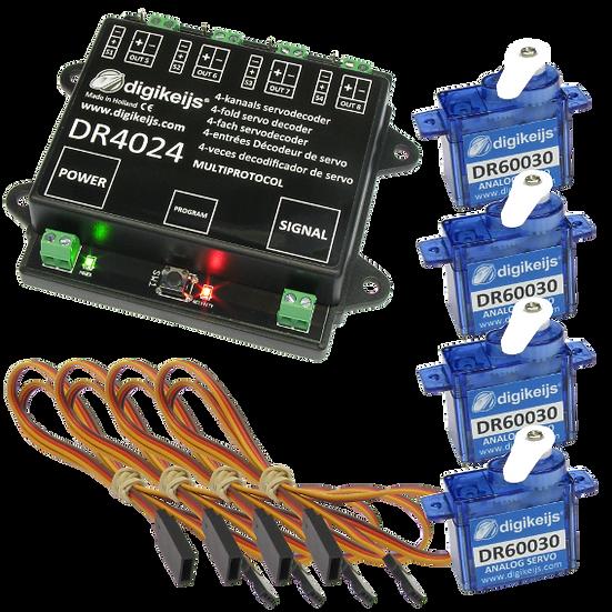 Digikeijs DR4024, Servodecoder + 4 mini servo + 4 cables