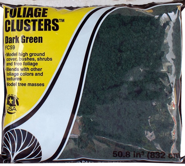 """Woodland Scenics FC59, follaje tipo """"clusters"""" verde oscuro"""