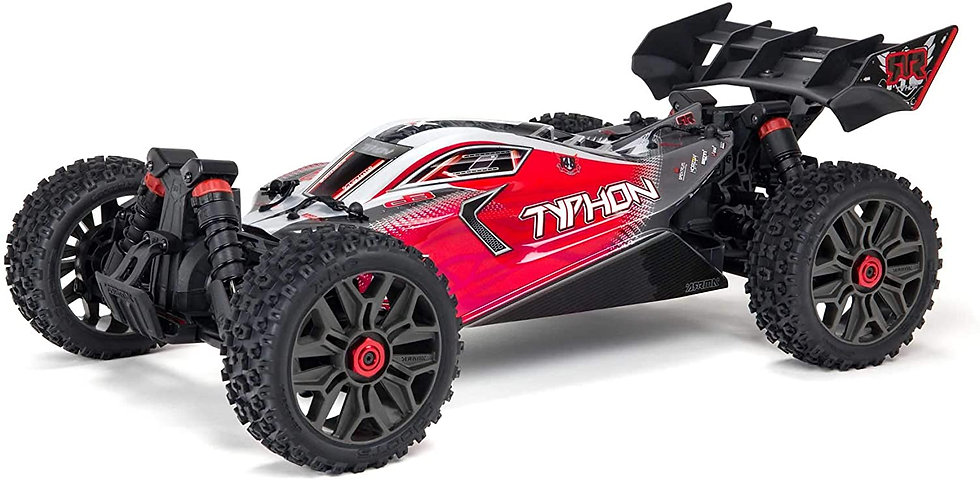 ARA4306V3, 1/8 TYPHON 4X4 V3 3S BLX Brushless Buggy RTR, Rojo