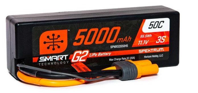 SPMX53S50H5,  11.1V 5000mAh 3S 50C Smart LiPo G2 Hard Case: IC5