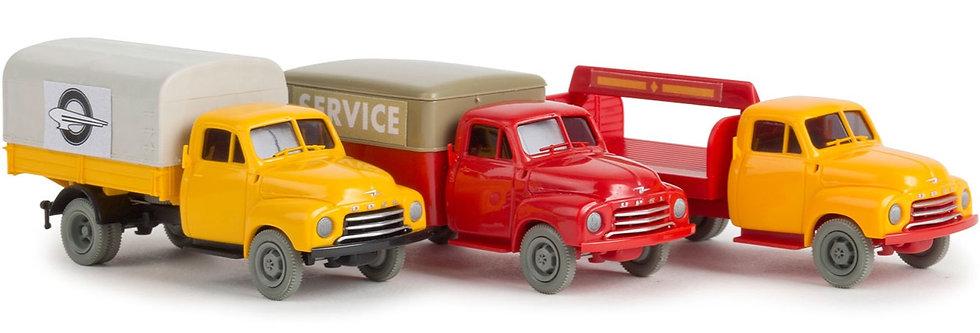Brekina 13902, Set 3 camiones Opel Blitz, Halbstarke