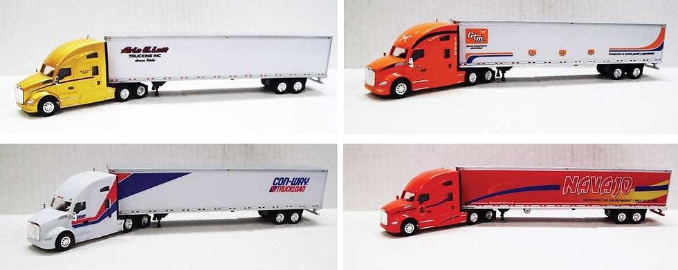 Trucks n Stuff, Pack de 4 camiones Kenworth T680 Sleeper-Cab con trailer  de 53'