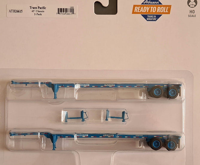 Athearn ATH26615, Pack 2 chasis portacontainer 45', Trans Pacific