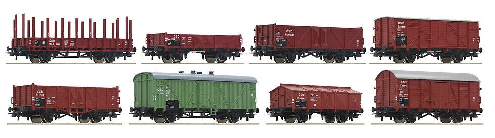 Roco 44001, Vagones de mercancías de 8 piezas, CSD
