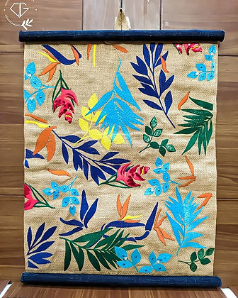 FLORAL JUTE + DENIM EMBROIDERED - WALL DECOR