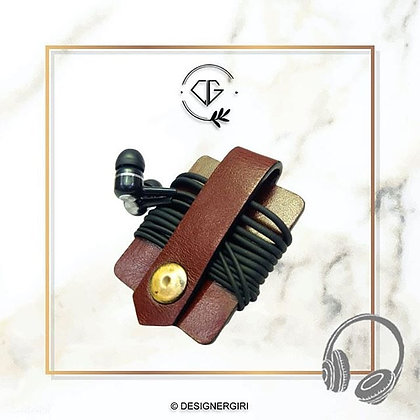 LEATHER CABLE WRAP- EARPHONES HOLDER