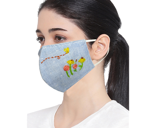 Handmade Embroidered Mask - Cotton Mix