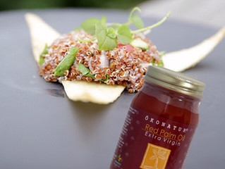 A refreshing and healthy quinoa salad with Okonatur Red Palm Oil.