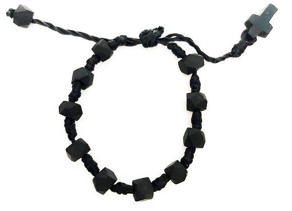 Children's Jet Stone Azabache Cord Bracelet | Pulsera de Azabache para Niños