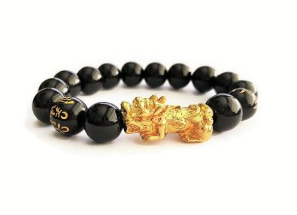 Black Obsidian + 18K Gold Plated Pi Yao Feng Shui Wealth Bracelet