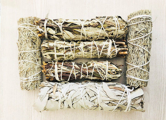 6-Pack SAGE Bundles for Cleansing, Rituals + Free Hand Fan