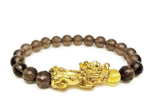 Smoky Quartz + 18K Gold Plated Pi Yao Wealth Bracelet | Feng Shui Bracelet