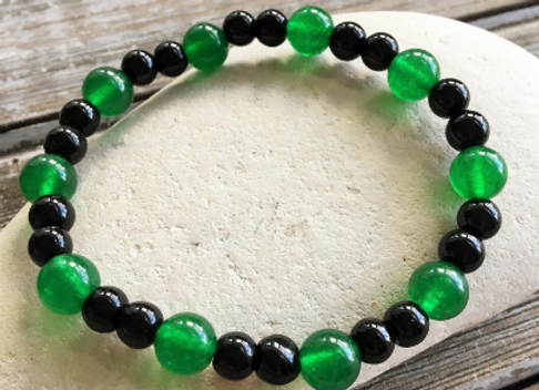 OGUN Ilde / Bracelet | Green Jade + Black Obsidian Beads