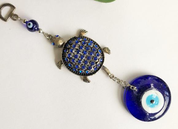 Evil Eye Protection + Blue Rhinstone Turtle Amulet Charm